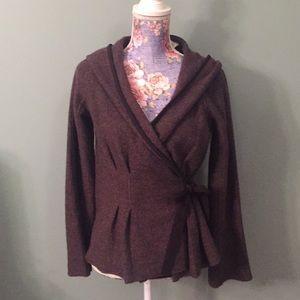 Sparrow Small Brown Wrap Jacket Sweater Wool hood